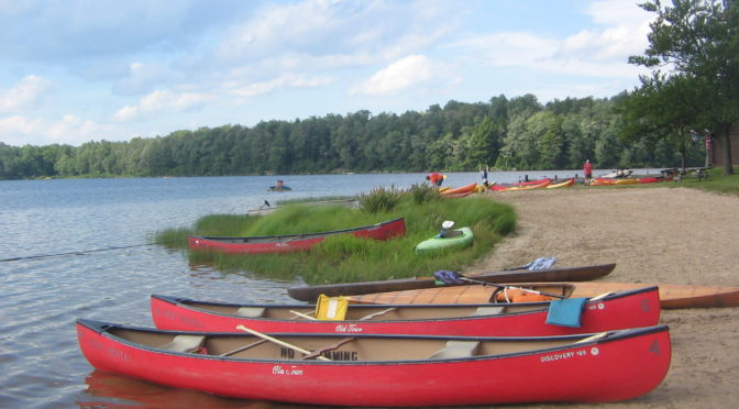 Canoes and kayaks on a beach