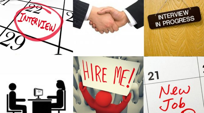 A collage of images related to job searches
