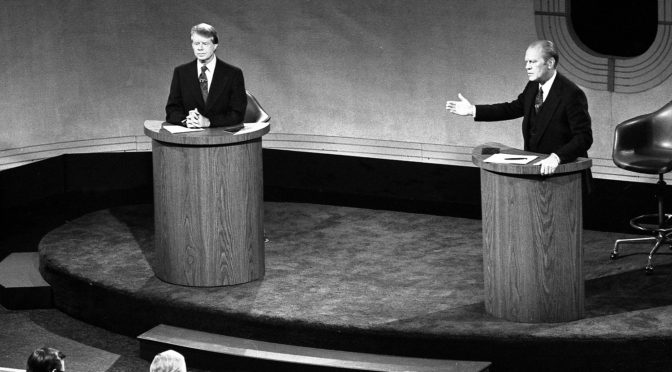 Carter and Ford on the debate stage